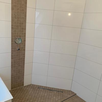 Badezimmer standard mittlere größe - Dusche mit Absatz
